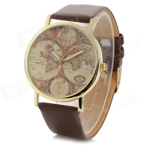 Fashionable Tellurion Patterned PU Wristband Analog Quartz Watch - Brown (1 x 377)