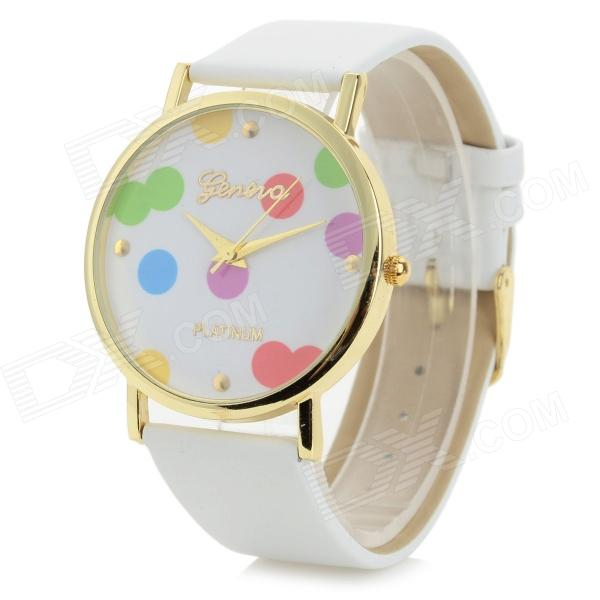 Women's Stylish Colorful Dot Style PU Band Analog Quartz Wrist Watch - White (1 x 377) s012 stylish shiny crystal inlaid leaf patterned analog quartz wrist watch w pu band 1 x 377