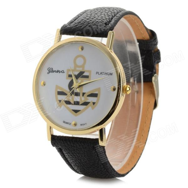 Fashionable Anchor Style PU Band Analog Quartz Wrist Watch - Black (1 x 377)