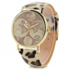 Women's Fashionable Tellurion Patterned PU Wristband Analog Quartz Watch - Leopard-print (1 x 377)