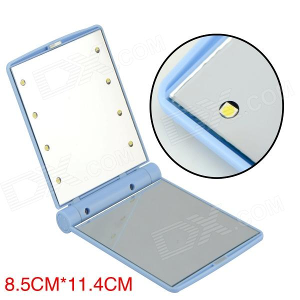 JL Portable Foldable Make-up Mirror w/ Built-in LED Light - Blue