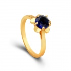 KCCHSTAR Flower Style Gold Plating Alloy + Crystal Finger Ring for Women - Golden + Blue (US Size 8)