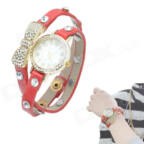 Women's Crystal Inlaid Bowknot 2-Lap PU Band Quartz Analog Bracelet Watch - Red + Golden s012 stylish shiny crystal inlaid leaf patterned analog quartz wrist watch w pu band 1 x 377