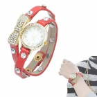 Women's Crystal Inlaid Bowknot 2-Lap PU Band Quartz Analog Bracelet Watch - Red + Golden