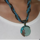 X002 Elastic Cord + Beads Chain Zinc Alloy + Cat' Eye + Rhinstones Pendant Necklace - Blue + Bronze