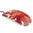 Hat-Prince Butterfly Pattern 1000DPI Optical Mouse w/ 120cm USB Cable - Red + Purple