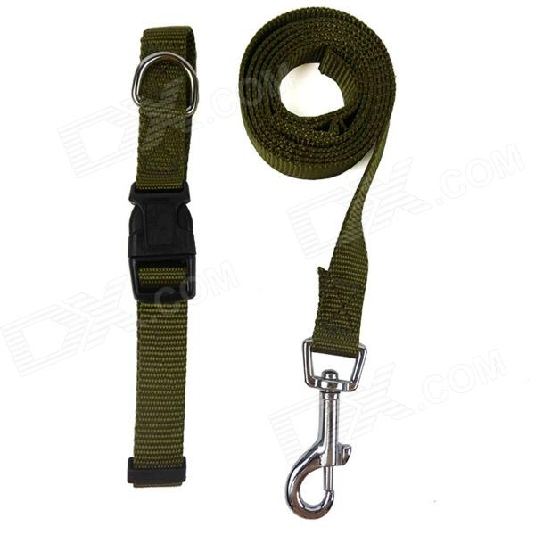 Doglemi DM40067 Adjustable Nylon Collar Leash for Pet Dog - Army Green (Size S) doglemi dm40024 m led nylon collar for pet dog green size m