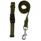 Doglemi DM40067 Adjustable Nylon Collar Leash for Pet Dog - Army Green (Size S)