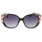 Women's Retro Style UV400 Protection Plastic Frame PC Lens Sunglasses - Black + Rose Gold