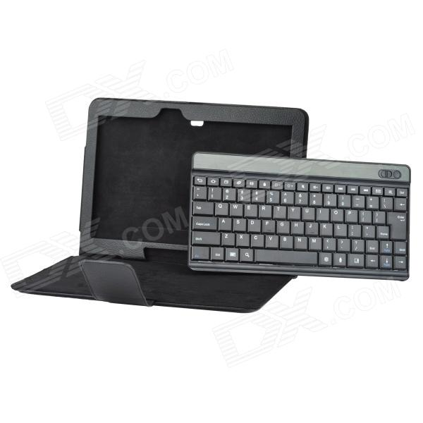 10 Detachable Bluetooth 84-Key Keyboard Case w/ Holder for Samsung T520 - Black universal 61 key bluetooth keyboard w pu leather case for 7 8 tablet pc black