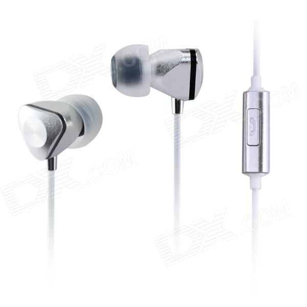 AIDEIDAI M604 3.5mm In-Ear Headphones w/ Mic for IPHONE / Samsung / HTC Phone - Silver + White