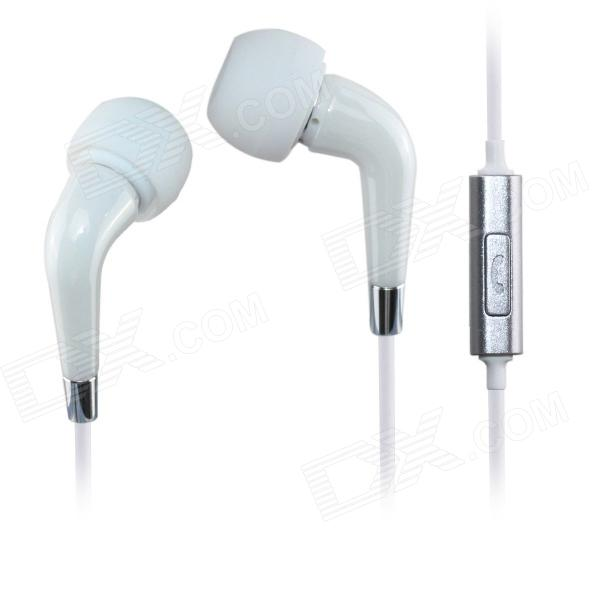 AIDEIDAI M602 Ceramics Stereo 3.5mm In-Ear Headphones w/Mic for IPHONE / Samsung / HTC Phone - White
