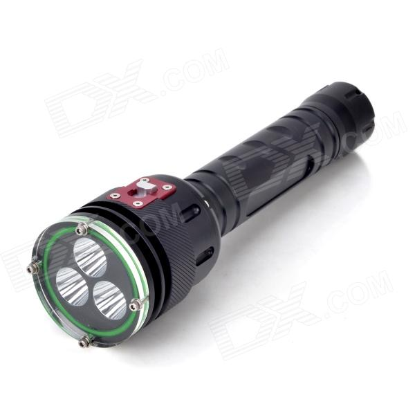 F-3L2 3-LED 2000lm 5-Mode White Light Diving Flashlight - Black (2 x 26650) 10000 lumens powerful diving flashlight led torch 6x cree xml t6 2x 26650 rechargeable battery portable underwater lights 2016