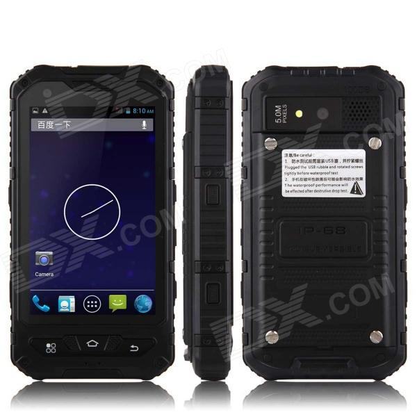 A8 Dustproof Waterproof Shockproof Dual-Core Android 4.2.2 WCDMA Phone w/ 4, Wi-Fi and GPS - Black hummer h5 3g smartphone 4 0 capacitive screen mtk6572 dual core 1 3ghz 512mb 4gb dual sim card waterproof shockproof dustproof gps smart phone unlocked