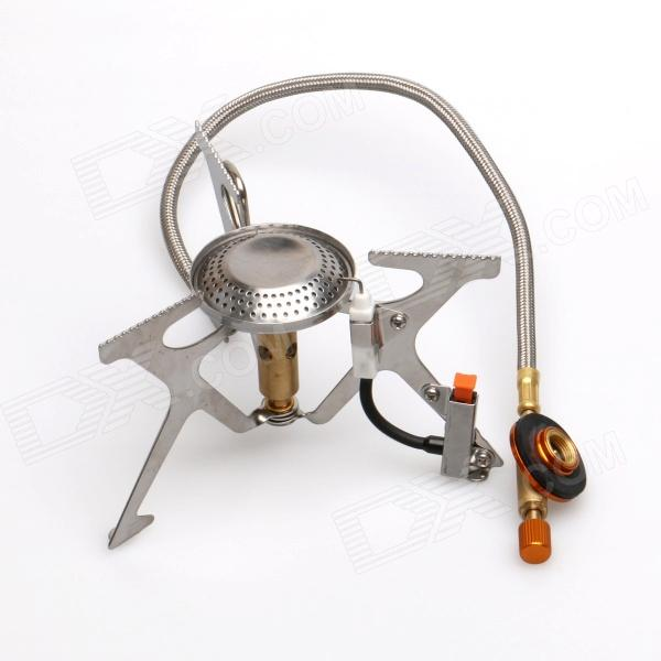 Ling Yun Outdoor Camping Mini Portable Gas Stove w/ Built-in Electric Lighter - Silver (2 x AG3)