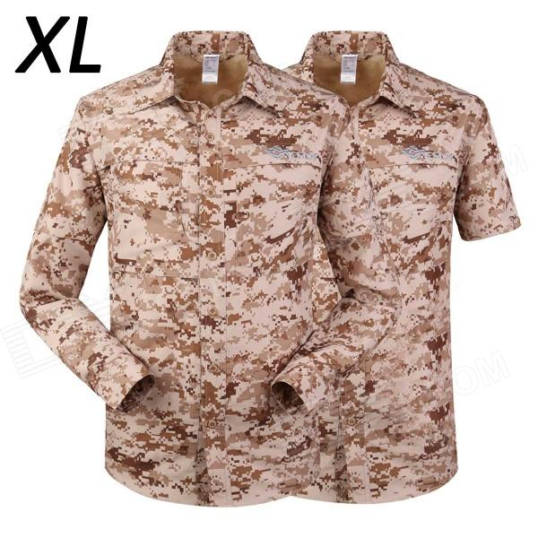 ESDY-620 Men's Quick-Drying Detachable Outdoor Shirts - Desert Camouflage (Size XL)