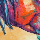 "Iarts DX0704-1 Hand-painted ""Kissing Horses"" Oil Painting - Blue + Multi-Colored (40 x 60cm)"