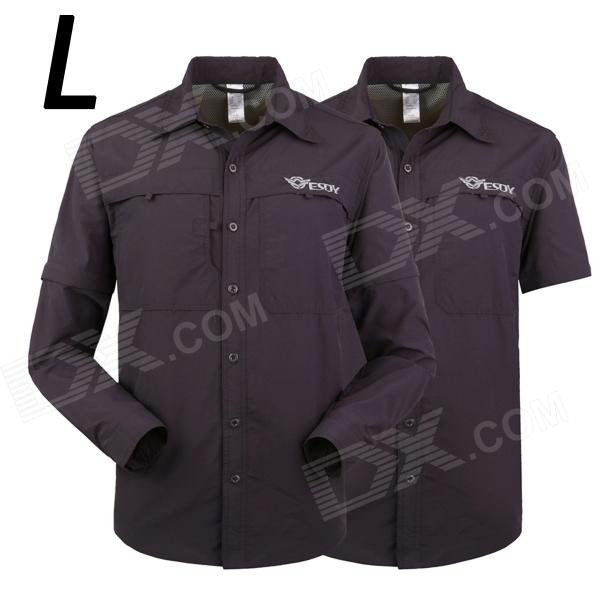 ESDY-629 Men's Quick-Drying Detachable Outdoor Shirts - Navy (Size L)