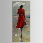 "Iarts DX0613-03 Hand-painted ""Modern Girl in Red Coat"" Oil Painting - Red + Multicolored (30 x 90cm)"