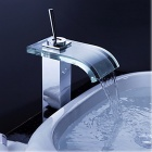 YDL-F-0551 Bathroom Waterfall Sink Faucet w/ Glass Spout - Transparent Green + Silver