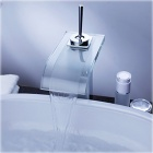 YDL-F-0551 Bad Foss sink tappekran m / Glass Tut-Transparent Grønn + Silver