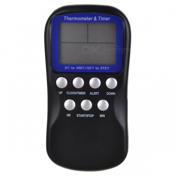 TEM-001 2.4 LCD Digital Food BBQ Thermometer w/ Probe / Timer - Black (1 x AAA)Household Thermometers<br>Form  ColorBlackModelTEM-001MaterialABS + 304 stainless steelQuantity1 DX.PCM.Model.AttributeModel.UnitScreen Size2.4 DX.PCM.Model.AttributeModel.UnitBattery TypeAAAAccuracy± 1CMeasurement UnitCelsius,FahrenheitMeasuring Temperature0C~300C (32F~572F)Battery Number1Battery included or notNoCertificationCE, RoHSOther Features1 x AAA battery (not included)Packing List1 x Food thermometer1 x Probe (100cm)1 x English manual<br>
