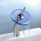 YDL-F-0550 Round Solid Brass Waterfall Sink Basin Faucet w/ Glass Spout - Silver + Translucent Blue