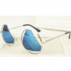 P1 Super Cool Creative UV400 Protection Zinc Alloy Frame PC Lens Sunglasses - Silver + Blue