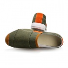 SNJ Breathable Men's Casual Canvas Shoes - Army Green + Orange + White (Size 44)