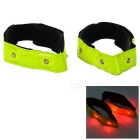 Reflective Night-time Safety Red 4-LED Wrist Strips (Pair/2*CR2032)