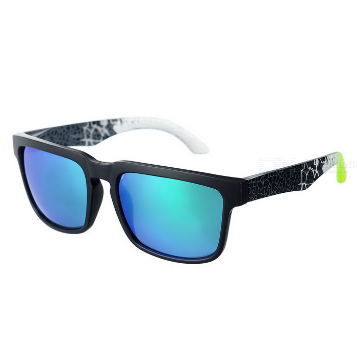OREKA 999 Polarized UV400 Protection PC Frame Resin Lens Sunglasses - Black + Green Revo oreka uv 400 protection fashion resin lens polarized sunglasses black blue