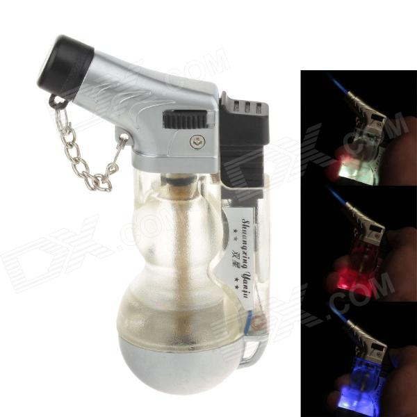 Fashionable Gourd Shape Wind-proof Butane Gas Lighter w/ LED Light - Transparent