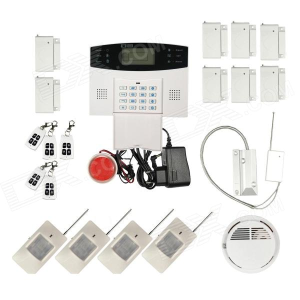 Home Security Quad-Band GSM SMS Alarm System w/ Detector Sensor Kit / Remote Control - White 9100 a quad band gsm sms home burglar security alarm system w detector sensor kit remote control