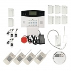 Home Security Quad-Band GSM SMS Alarm System w/ Detector Sensor Kit / Remote Control - White