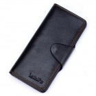 Men's Fashionable Long Split Leather Wallet w/ Magnetic Button - Black