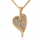 LKN18KRGPN706 Fashion Women's Gold-plated Alloy + Rhinestones Heart Shaped Pendant Necklace - Golden