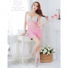 Fashionable Sexy Mesh Sleep Dress w/ T-Back - Pink + White