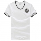 Men's Fashionable Polyester + Spandex V-Neck Short Sleeves T-Shirt - White (Size L)