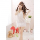 Fashionable Sexy Mesh Sleep Dress w/ T-Back - White