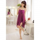 Fashionable Sexy Silk Sleep Dress w/ T-Back - Purple
