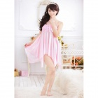 Fashionable Sexy Silk Sleep Dress w/ T-Back - Pink