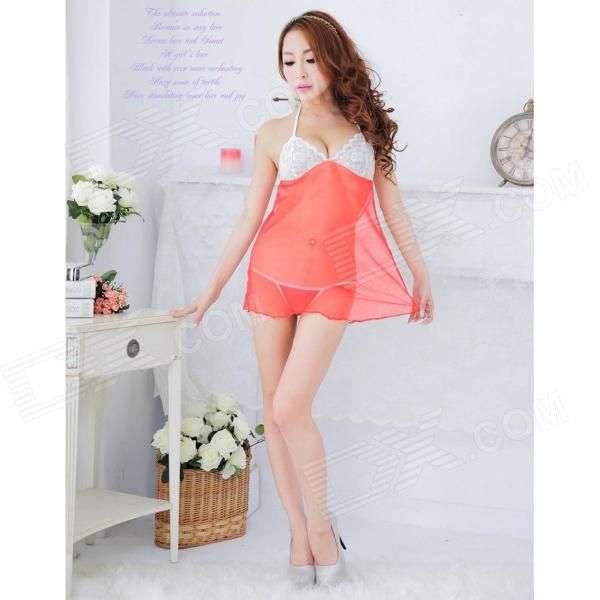 Fashionable Sexy Mesh Sleep Dress w/ T-Back - Red + White