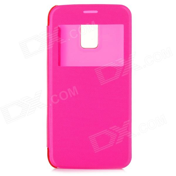Protective Flip-open Case w/ Display Window / Auto Sleep for Samsung Galaxy S5 Mini G800 - Deep Pink usams ip4sxk04 protective flip open case w display window for iphone 4 4s deep pink