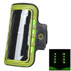Sports Arm Band Case w/ LED Flickering Light for Samsung Galaxy S5 - Green + Black (2 x CR2032)