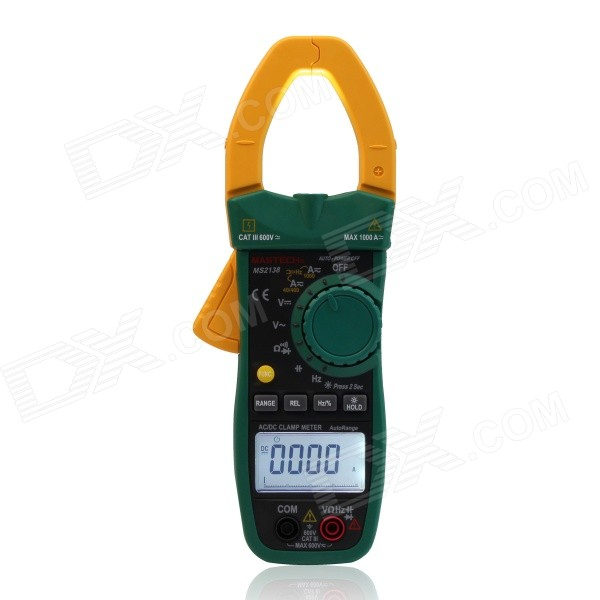 MASTECH MS2138 0~1000A AC / DC Digital Clamp Meter - Black + Army Green (3 x AAA) mastech ms2001f holdheld digital clamp meter 31 2 bit ac digital clamp continuity diode test with backlight