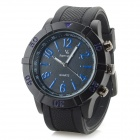 Men's Stylish Silicone Band Analog Quartz Sport Watch - Black + Deep Blue (1 x 626)