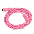 VGA Male to Male HD TV Video Flat Connection Cable - Pink + Golden (3m)