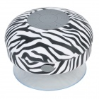 BTS-06 Zebra Style Bathroom Water Resistant Suction Cup Bluetooth V3.0 Speaker - Black + White