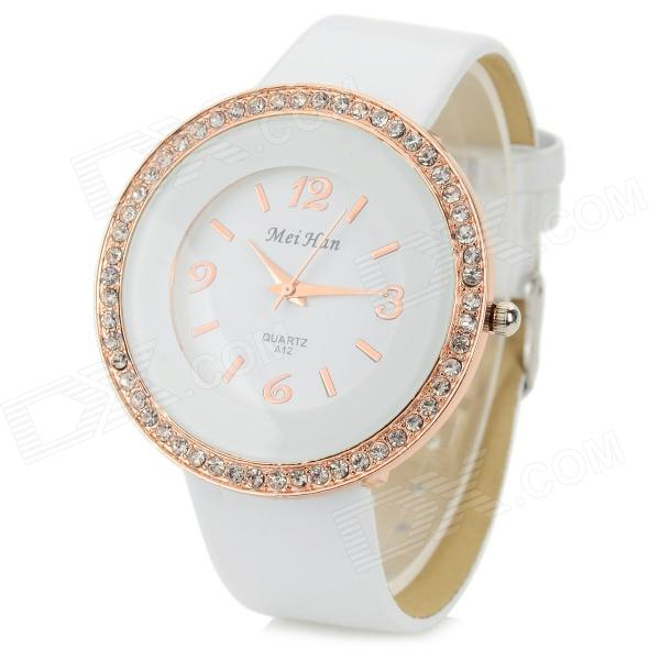MeiHan A12 Women's PU Band Rhinestone Inlaid Analog Quartz Watch - White (1 x 626)