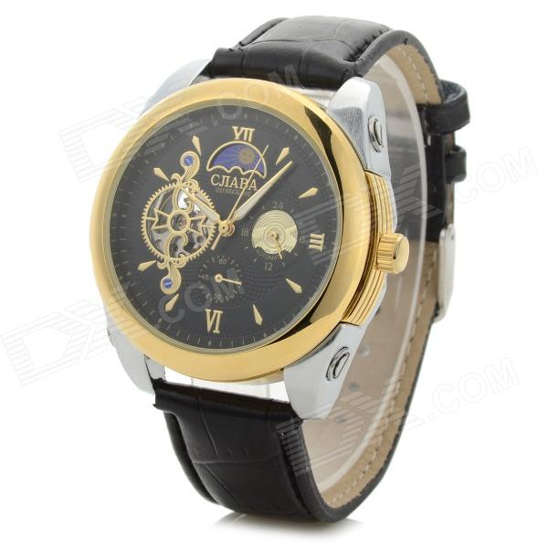 CJIABA Water Resistant Men's PU Band Analog Mechanical Wristwatch - Black + Golden